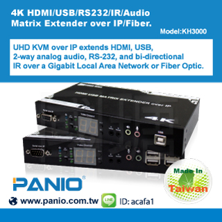 KH3000 4K HDMI/USB/RS232/IR/Audio Matrix Extender over IP&Fiber