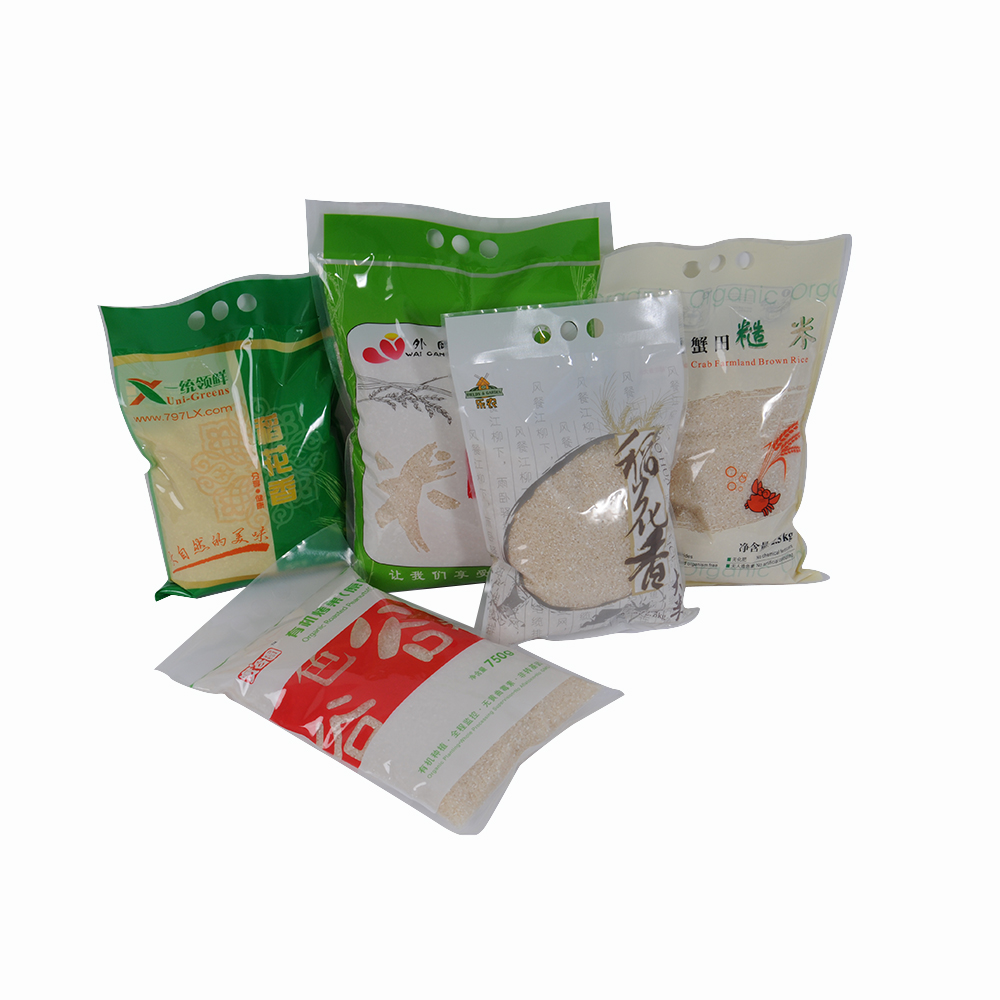 custom design printed different size 1kg 2kg 5kg 10kg rice packing bags for sale