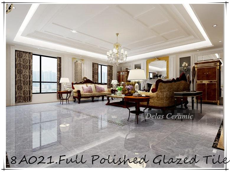 8C021 Grey Glazed Polished Tile floor Porcelanato Polido 60x60 80x80