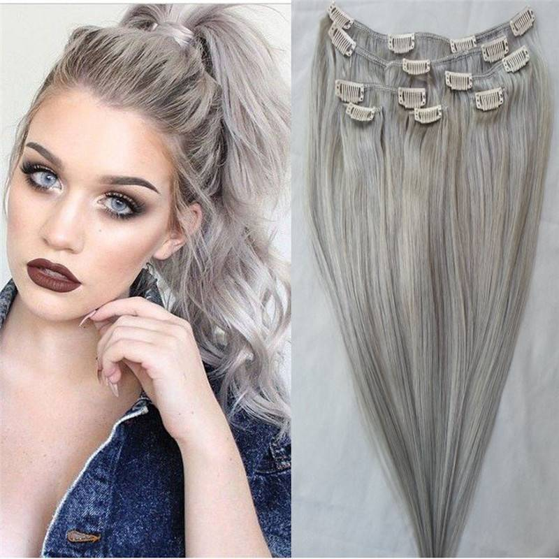 Popular grey color synthetic clip in hair extensions