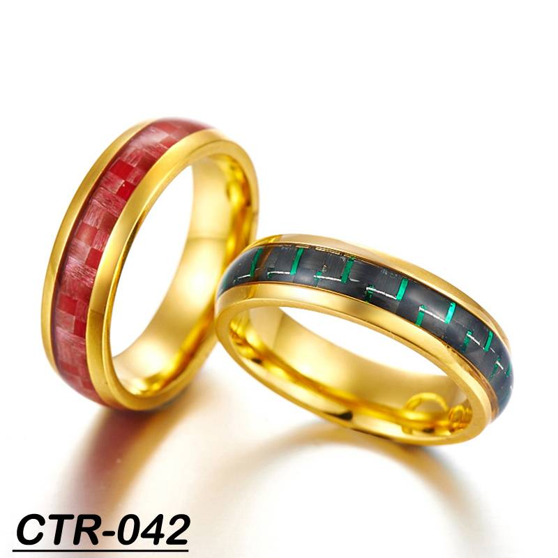 cheap gold plated ring gold tungsten ring ring man with carbon fiber