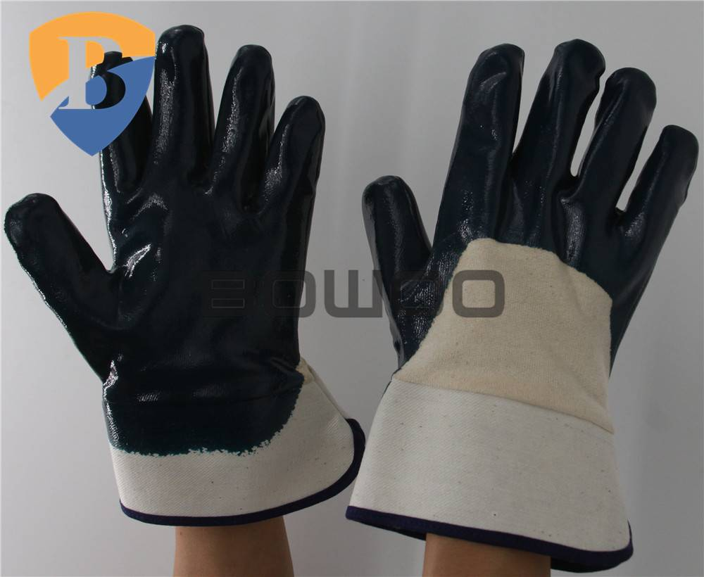 Premium blue nitrile working glove with cotton jersey