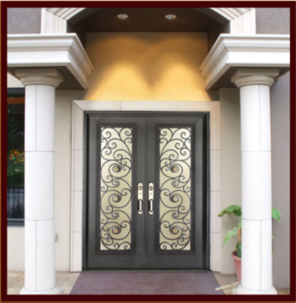 China Factory Direct Wrought Iron Double Design House Used Security Iron Doors (JDL-1006)