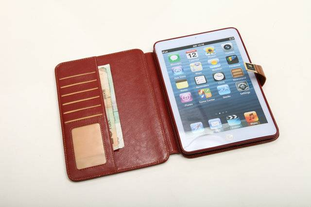 Imported crazy horse pu leather case with standing for Ipad mini 1 and 2 gen and few card slot