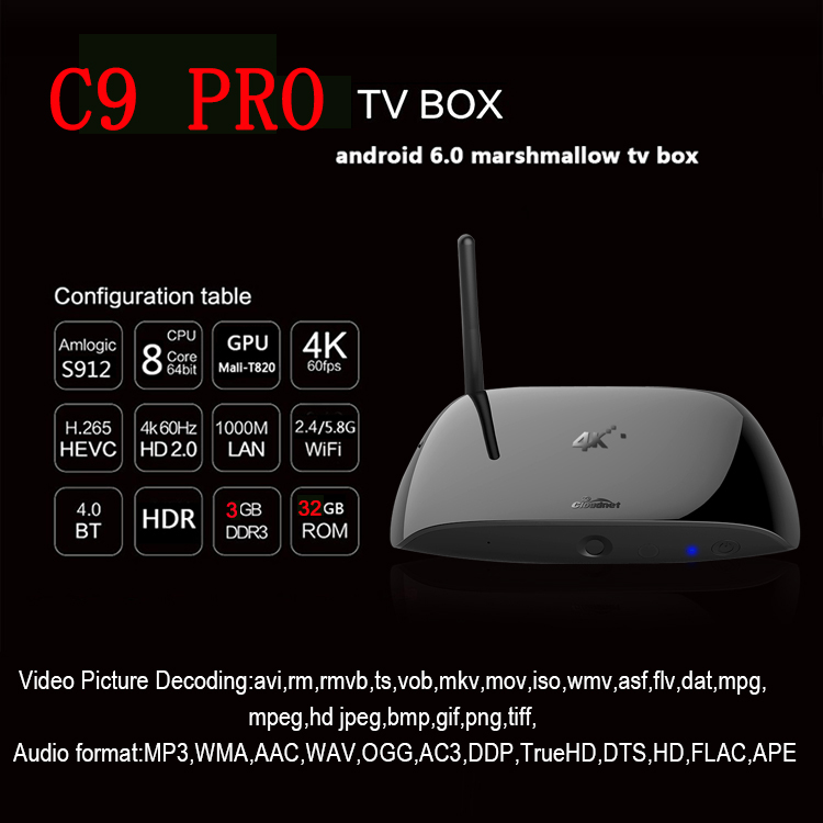 Cloudnetgo C9 Pro 3GB Ram 32GB Rom Amlogical S912 Android 6.0 Marshallow IPTV Set Top Box Jailbroken