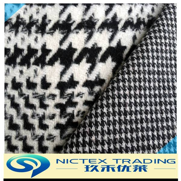 woven tweed polyester wool houndstooth fabric for women coats