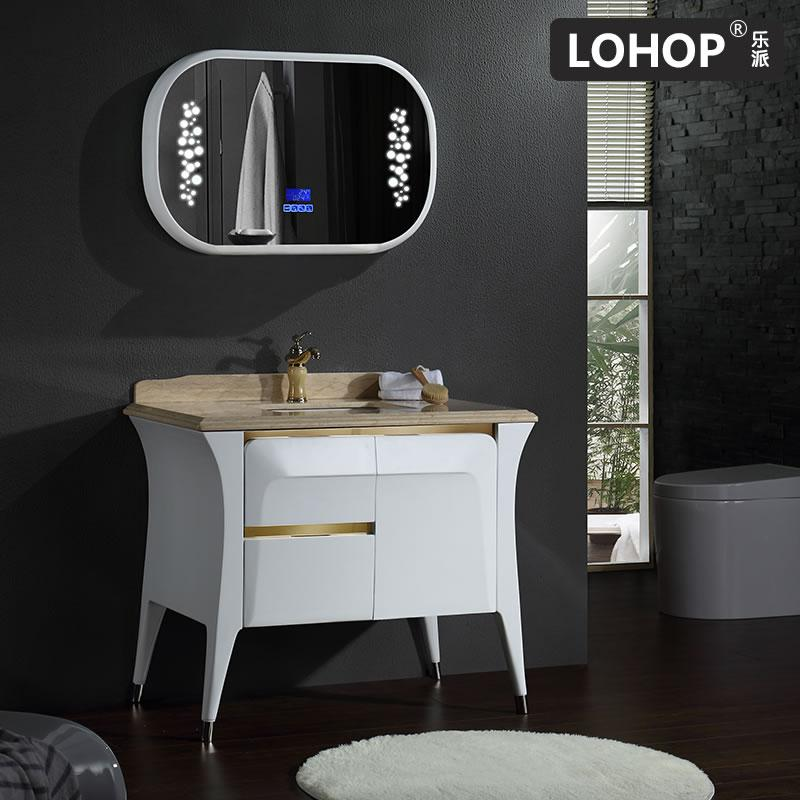 New style solid wood bathroom vanity with bluetooth music player and natural marble countertop