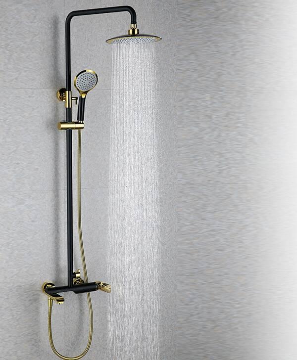 Golden European Brass Bathroom Shower Mixer Faucet