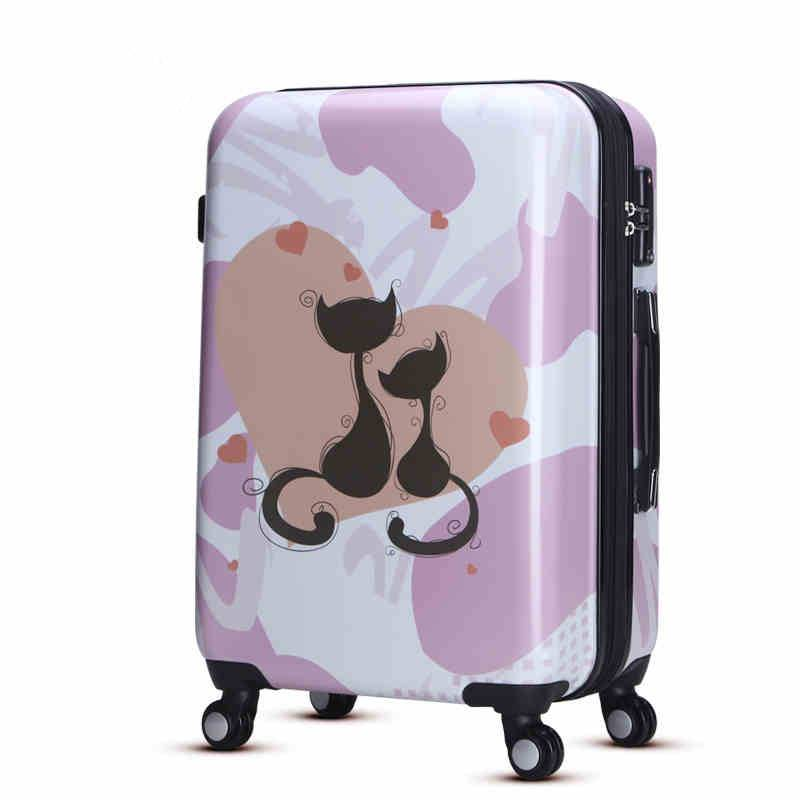 Printing cat pattern design pc hardside luggage