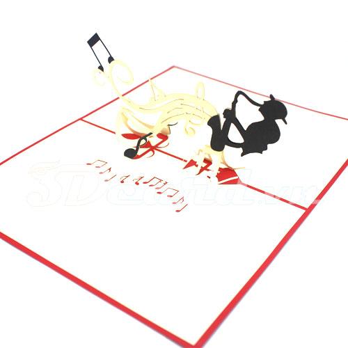 Music Jazz-Kirigami-Origami-Laser cut-Paper cutting-3D-Handmade-Birthday card