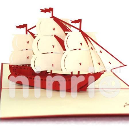 White sailboat Pop Up Card Handmade Greeting Card