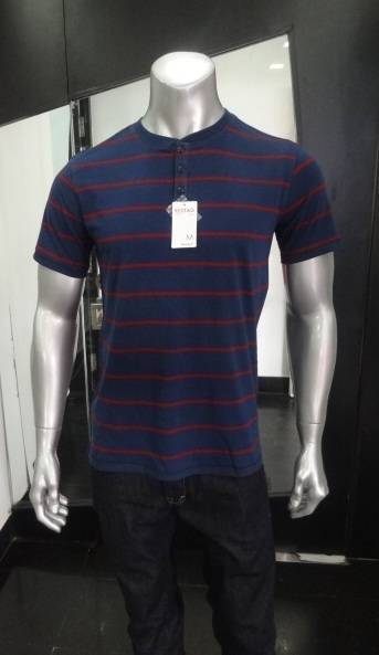 Mens Henley Neck Striped T-Shirt