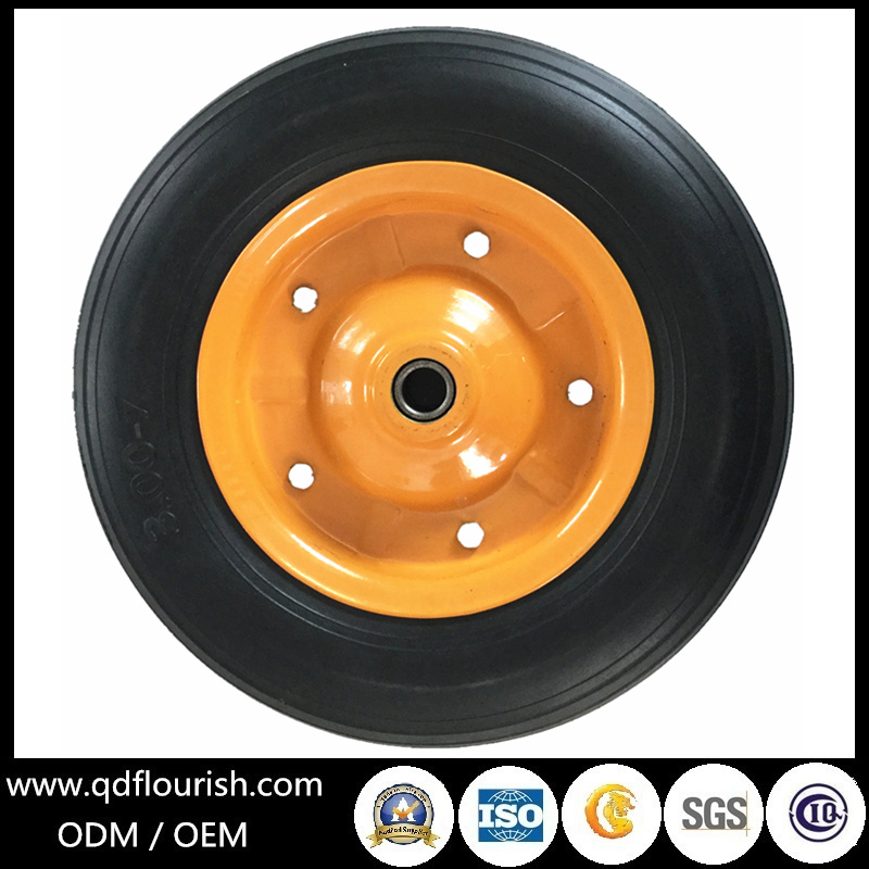 Solid Rubber Powder Wheel Steel Rim for Cart and wheelbarrow