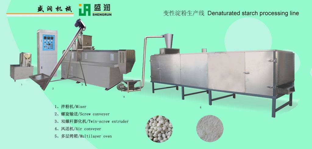 Denaturated starch processing line