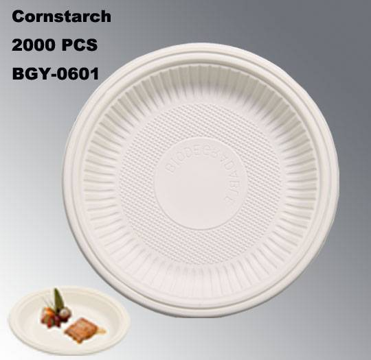 BGY-0601 Plate cornstarch tableware eco-friendly disposable plate