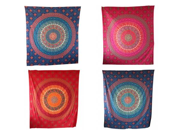 Handicrunch | Indian Multi Color Hippie  Mandala Tapestry Wall Hanging