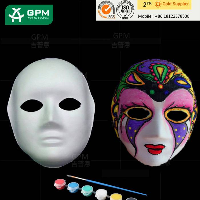 2015 China Manufacture High Quality White halloween paper pulp face party mask