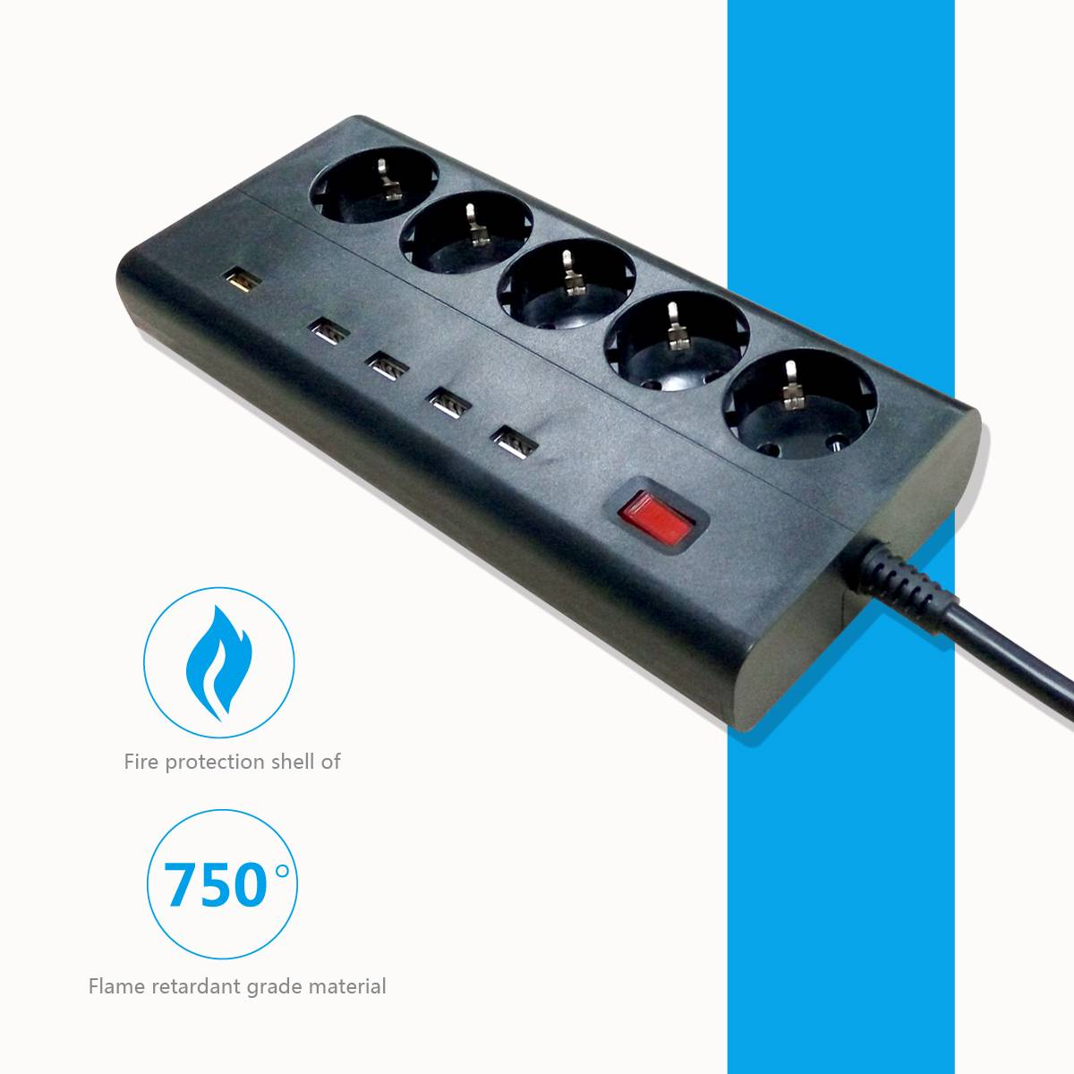 euro type power plug bar with 5-12v usb socket 5 convenient outlet surge protector