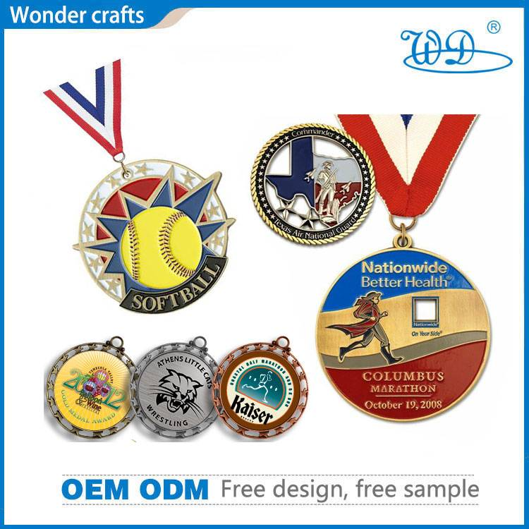 Custom diecast diagonal edge gold silver plated iron brass enamel colored medallion