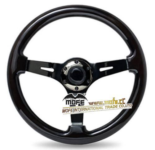 350mm Universal Deep Dish  black Wood Car Steering Wheel