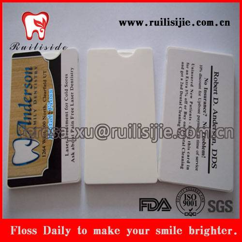 Promotional Dental Gifts Products Card Shape Dental Floss Printing Private Label