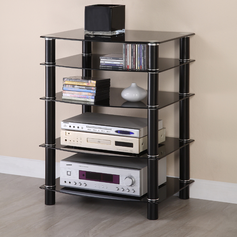 Black Glass Multilevel Component Stand (Black)