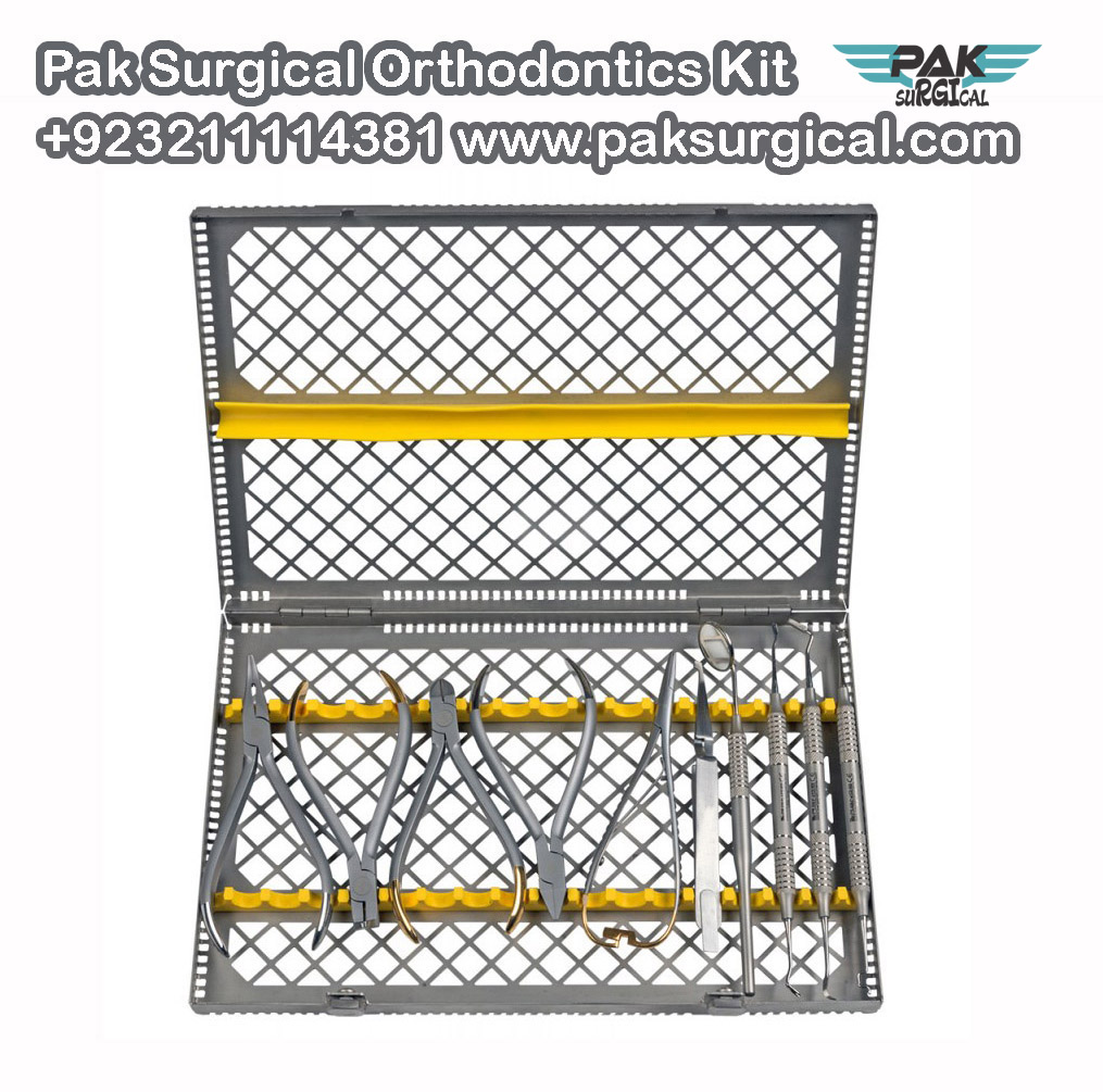 Pak Surgical Orthodontics Kit includes the most commem pliers and instruments.