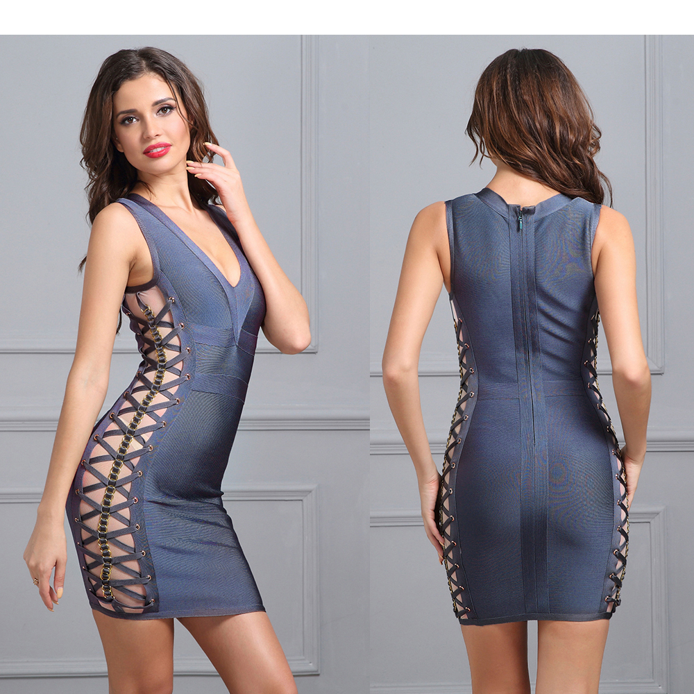 2017 Bandage Dress V Neck Mini Dress