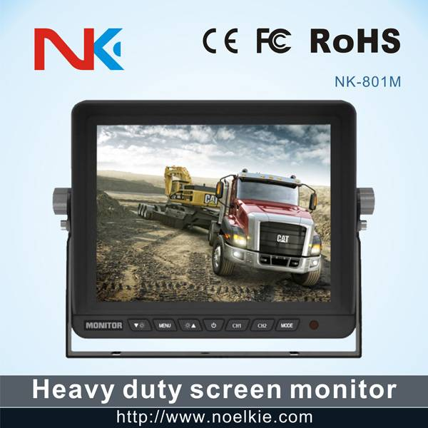8 inch DC 12-24V lcd monitor with 2 way video input, 2 way audio input