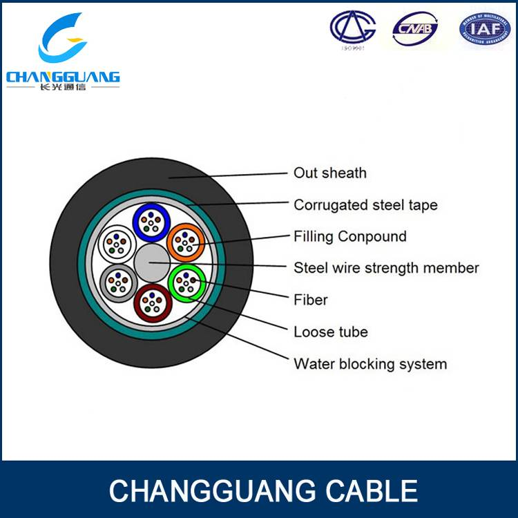 GYTS Multi Core Single-Mode Fiber Optic Cable Stranded Loose Tube Fiber Cable Steel Wire Strength Wa