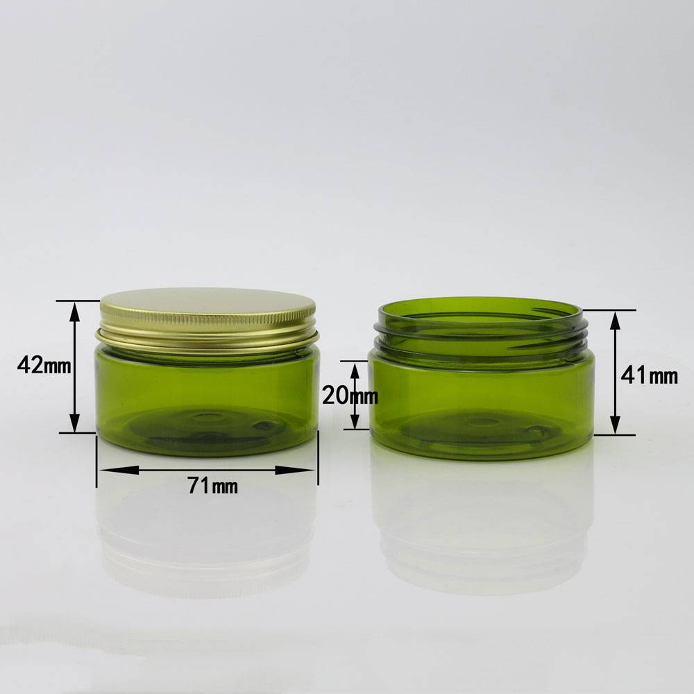 In stock 100ml green plastic jar for for body cream with gold metal cap