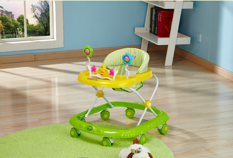 Easy folding portable pusher baby walker with 8 wheels for toddlers