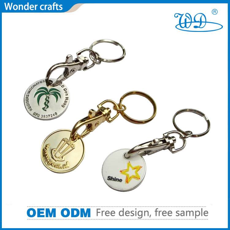 Customized 3d engraved alloy rimmed carabiner metal souvenir cute shining trolley keychains