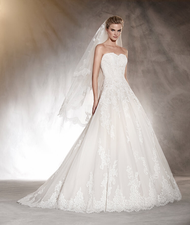 hot selling wedding dress with laceappliqued