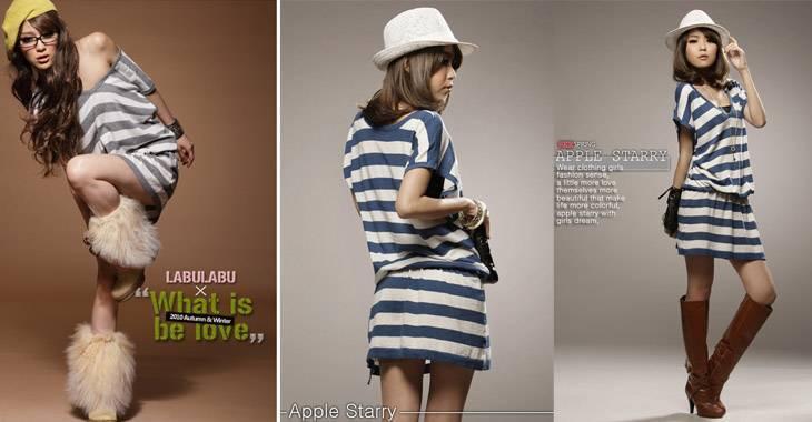 jjfashion-Big stripe v-neck connect body skirt