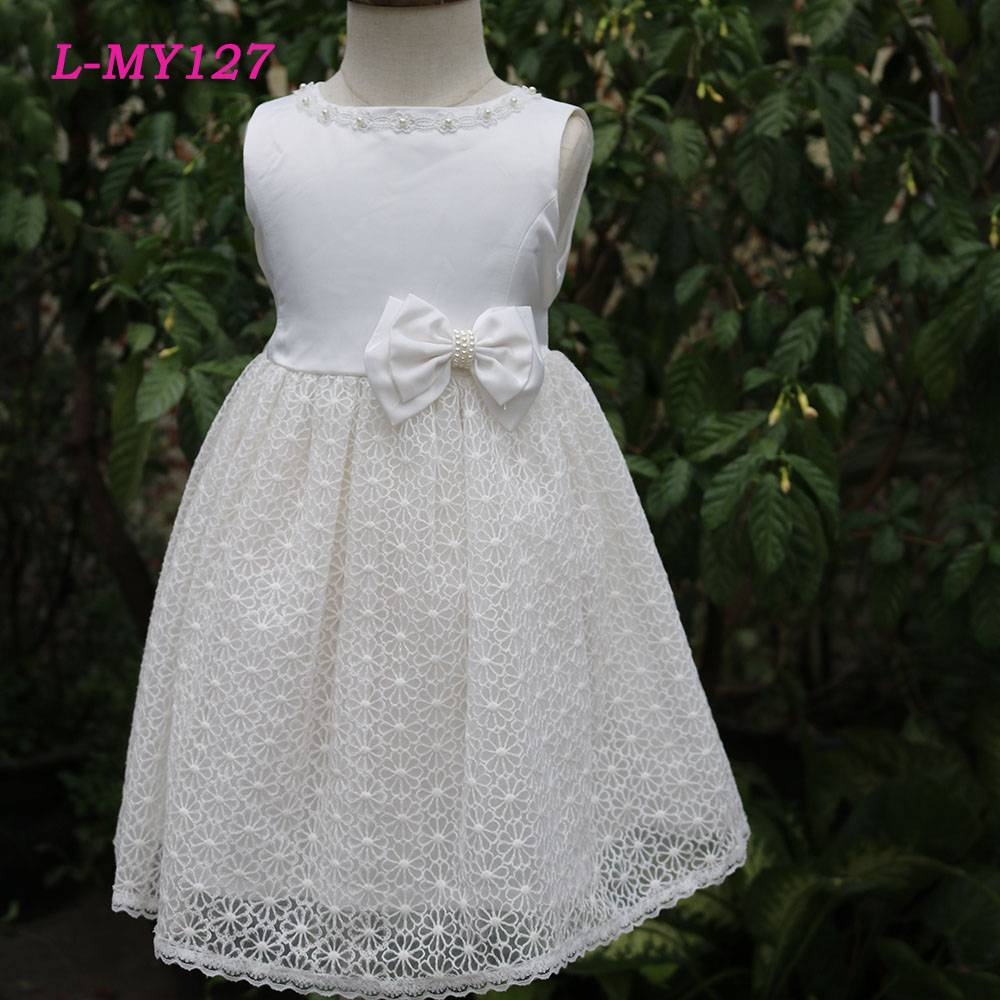 Elegant white lace flower girls wedding dress with pearl latest children dress designs kids wear bab