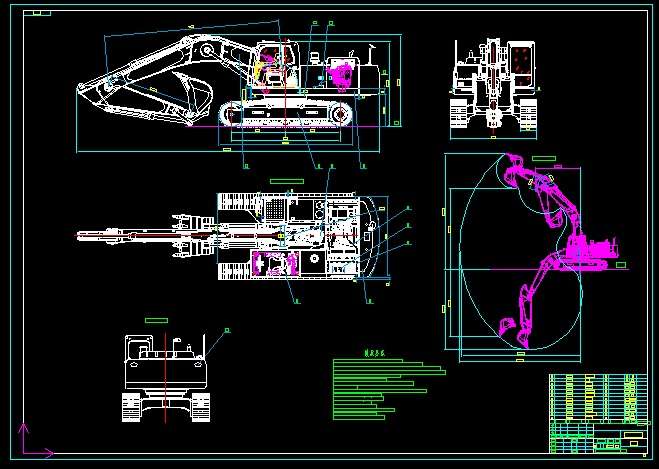 Many Models Excavator Blueprint Drawing