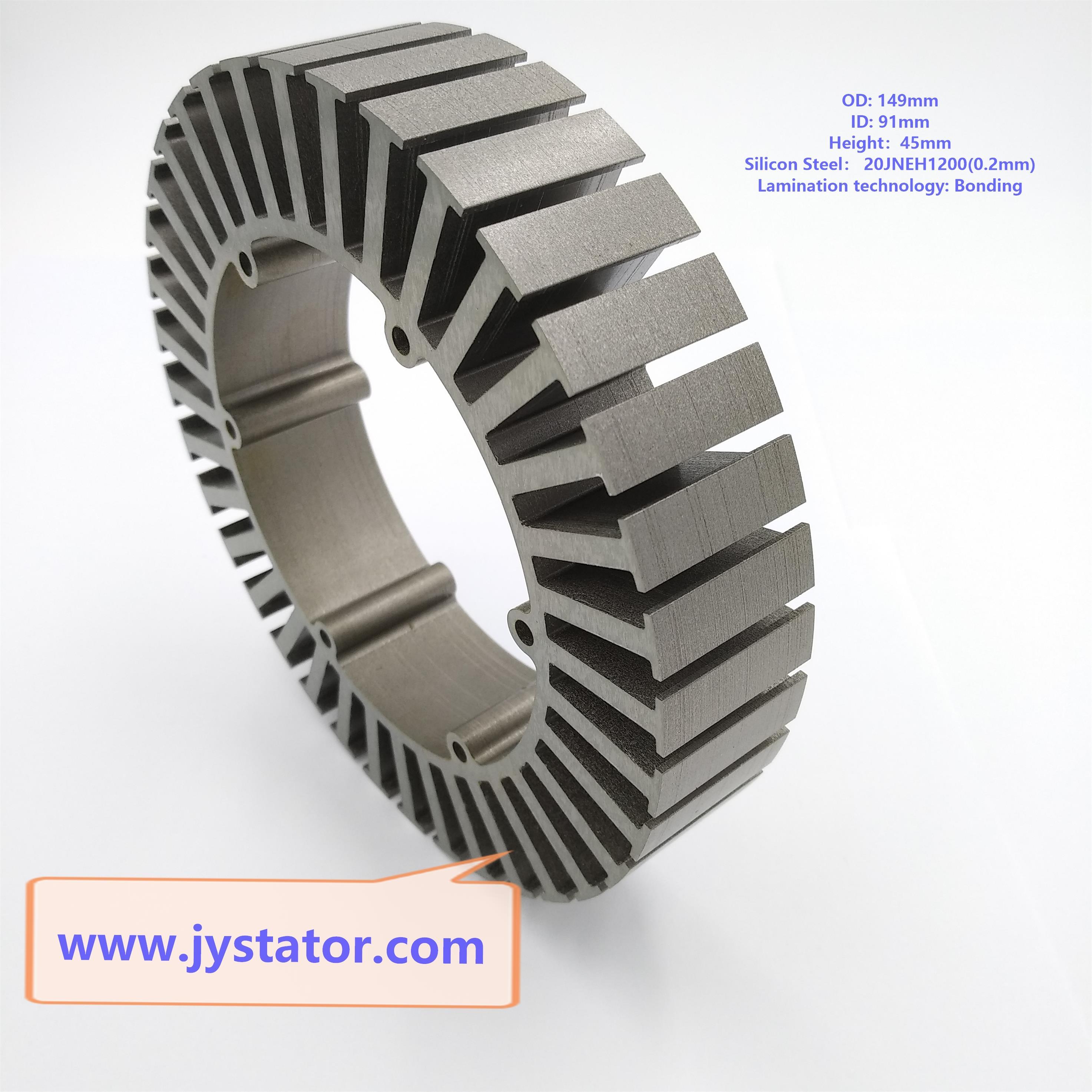 Motor stator bonding lamination for electric vehicle wheel hub motor