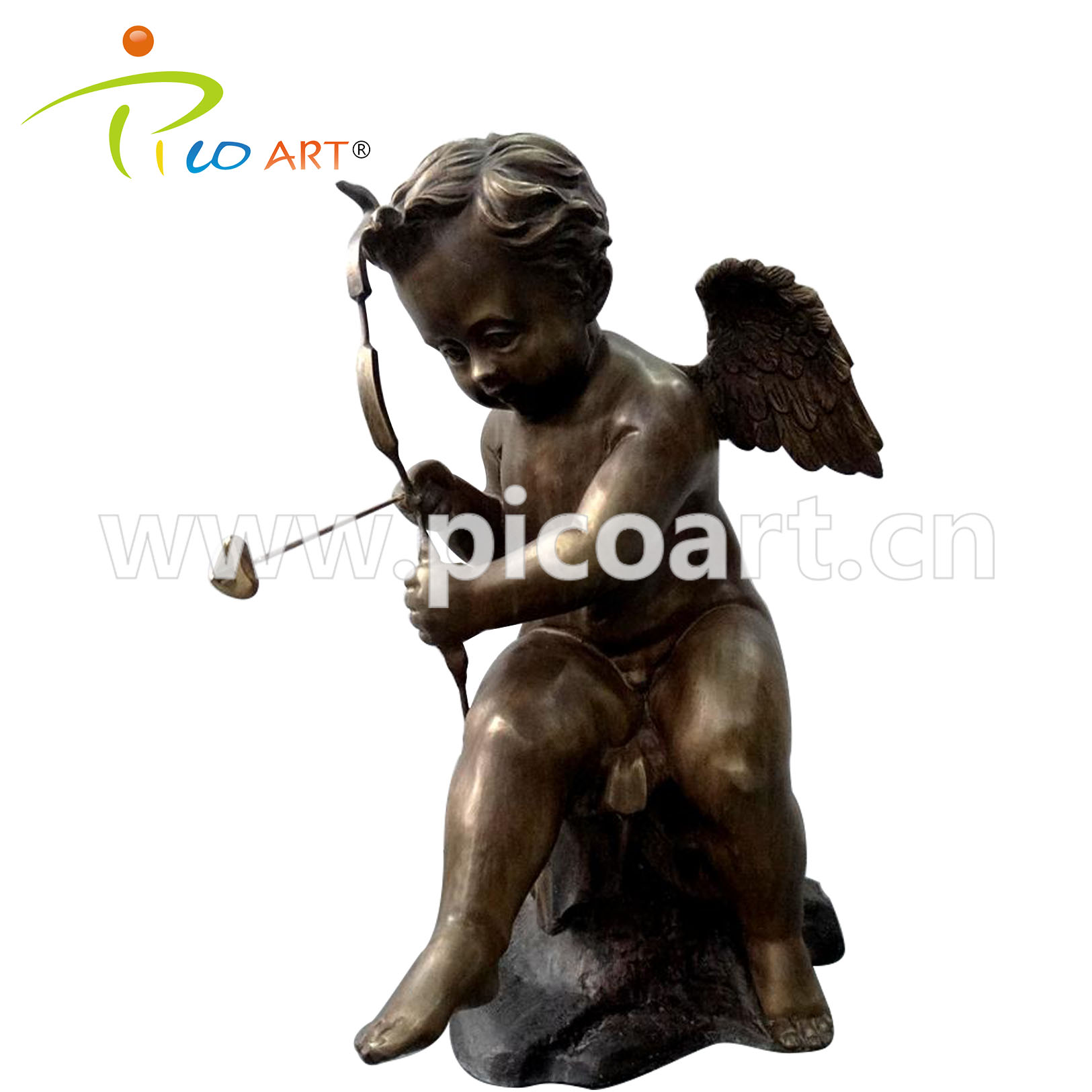 Famous Modern Handmade Welded Copper Metal Cupid Outdoor Art Metal Sculpture