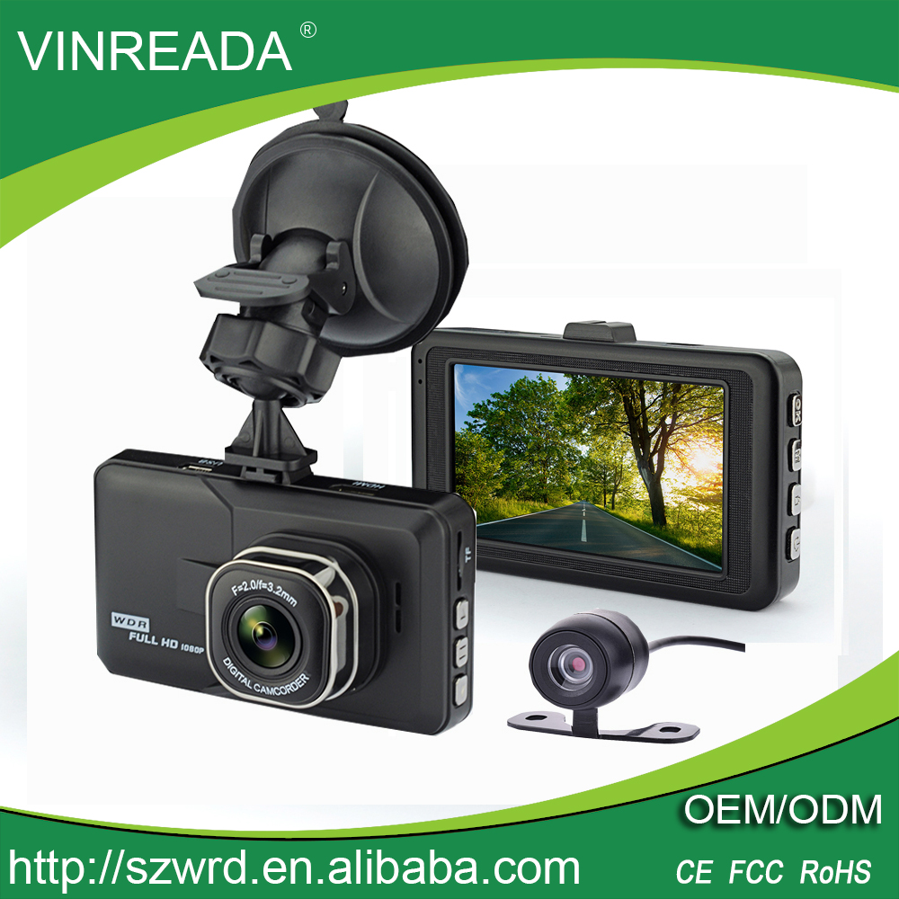 Dual Lens Car Video Recorder Black Box Dash Camera DVR With 3.0 Inch Screen