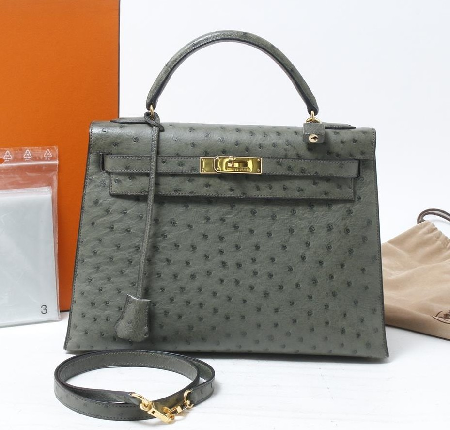Used brand designer HERMES Kelly Ostrich Leather Handbags for bulk sale.