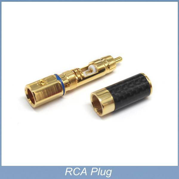 High Performance Copper Carbon fiber RCA Plug Gold Plated Audio Video Adapter Connector