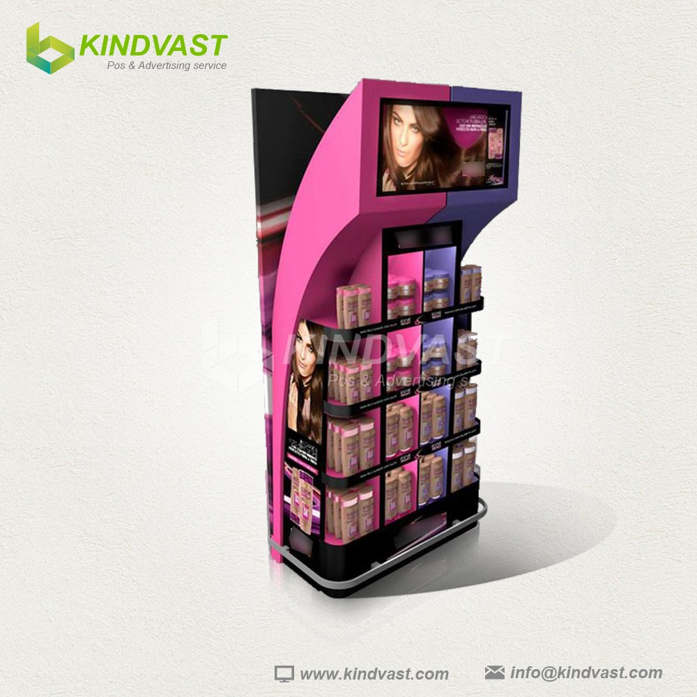 Colorful 4C printing shampoo /lotion corrugated pallet display stand