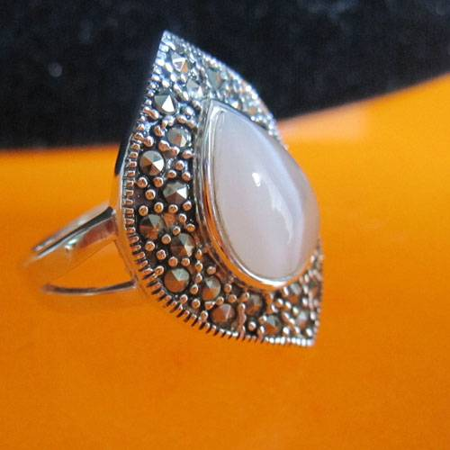 fashion Thai silver cat's eye ring,Thai silver jewelry,marcasite ring