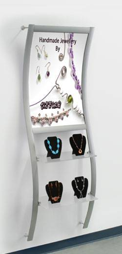 Wall mounted poster display with shelves