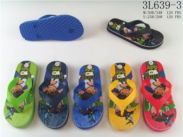 China facotry heat transfer printing beach eva boys flip flops for children