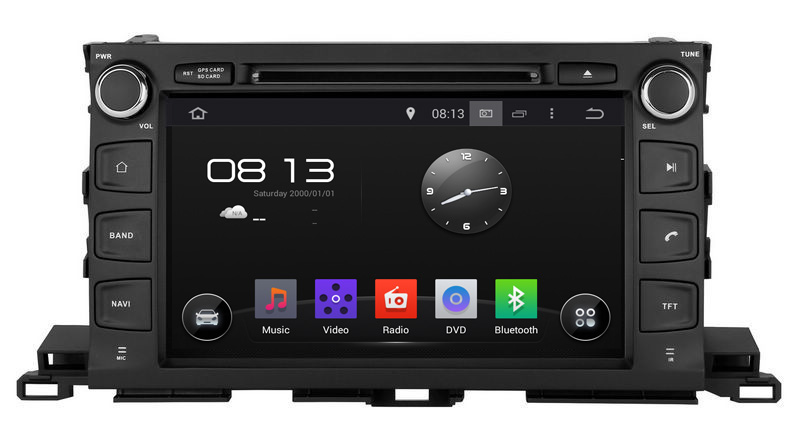 Car GPS DVD player for Highlander 2014-2015,9 inch android system BT navigation 1+16GB HD