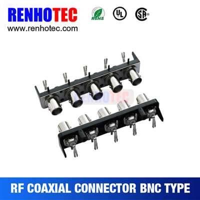 Right angle five BNC female connectors in one row with black