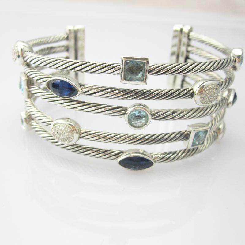 Sterling Silver Jewelry Blue Topaz CZ Five Row Bracelet (B-088)