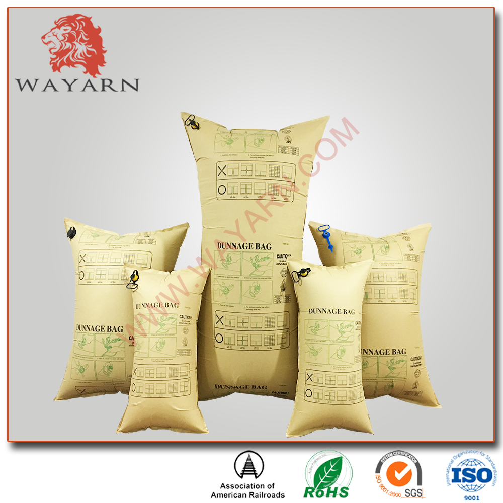Inflatable kraft paper container dunnage air bag for railway transportation